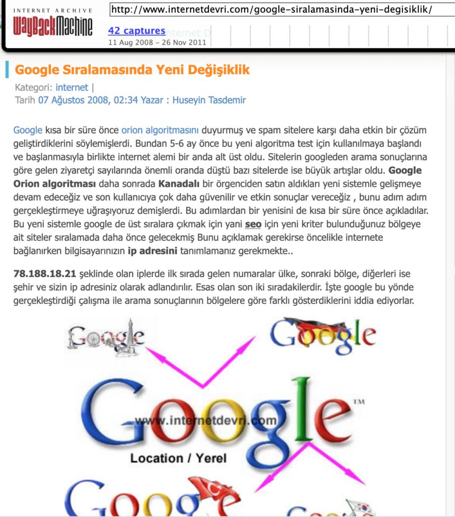 Google Algoritma değişikliği