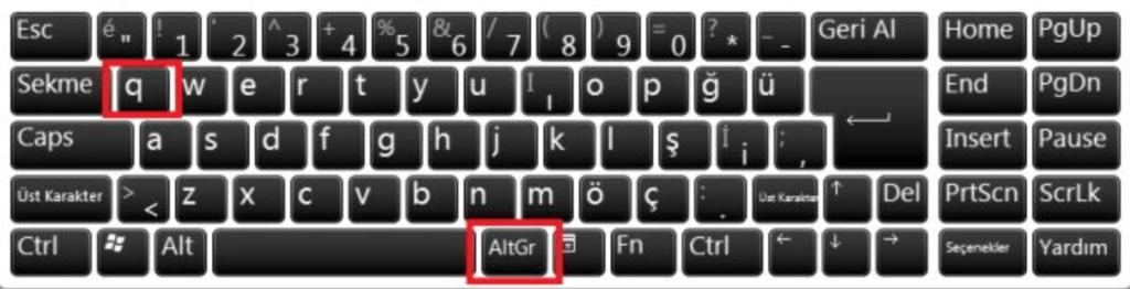 Klavyede @ işareti nasıl yapılır